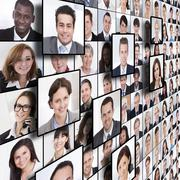 full frame shot of business people collage - stock illustration