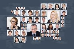 collage of multiethnic business people over white background - stock illustration