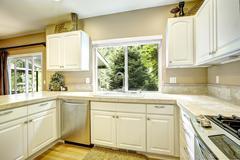 white kitchen room with window - stock photo