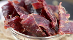 Rotating beef jerky (loopable) Stock Footage