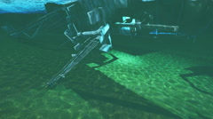 3d rendering  - helicopter sinking underwater - stock footage