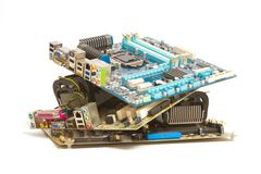 pile of mainboard computer - stock photo