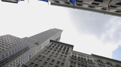 Empire State Building Flags Midtown Manhattan New York City NYC 4K 5th Ave Stock Footage