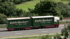 Eddie Stobart lorry with trailer on M6 - stock footage