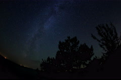 6K. Starry sky over the reservoir in Kremenchuk. Mountain Piviha.  Stock Footage