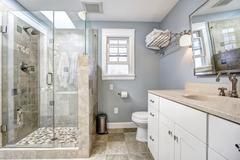 Stock Photo of modern bathroom interior with glass door shower