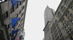 Empire State Building Flags Midtown Manhattan New York City NYC 4K 5th Ave - stock footage