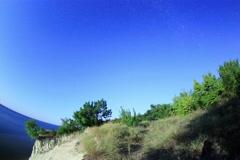 6K. Starry sky over the reservoir in Kremenchuk. Mountain Piviha.  Stock Footage
