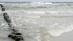 Groin in the Baltic Sea with rough weather Stock Footage