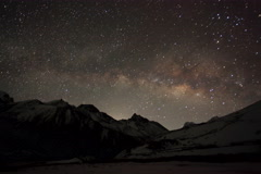 6K. Time lapse of stars behind mountain Taboche, Cholatse Stock Footage