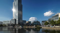 Wideangle View of MediaPark, Cologne, Germany - stock footage