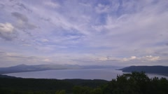 Wide view time lapse of Lake Prespa Stock Footage