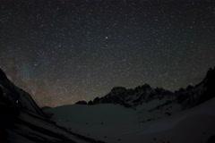 6K. Time lapse of stars behind mountains Pharilapche peak. Nepal Stock Footage