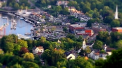 Maine small town tilt shift time lapse Stock Footage