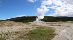 Steam Rises from Old Faithful Geyser Stock Footage