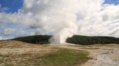 Long Distance Shot of Old Faithful Geyser Stock Footage