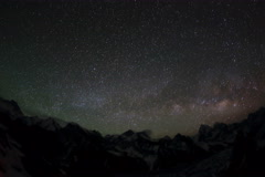 6K. Time lapse of stars behind mountains Everest, Lhotse and Makalu from Gokyo  Stock Footage