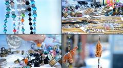 4K Craft stall hawking Stock Footage