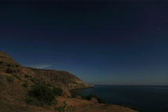 6K. Night landscape, night sky with moving stars over the sea.  Stock Footage