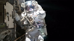 Astronaut on a spacewalk Stock Footage