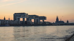 Cologne Skyline and the Rhine at Sunset, Germany Stock Footage