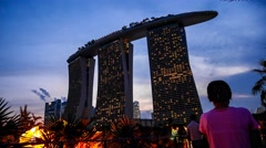 4k UHD time lapse video of Marina Bay Sands at night, Singapore Stock Footage