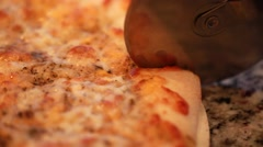 Hot pizza out of a oven in the kitchen Stock Footage