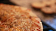 Hot pizza out of the oven Stock Footage