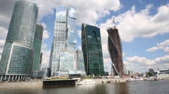Skyscrapers of Moscow City and Moskva river. Stock Footage