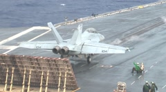 Stock Video Footage of F18 launch from carrier deck