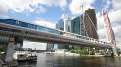 Moscow City Business Center and Bagration bridge. Stock Footage