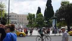 Syntagma Square And Parliament Building in Athens, Greece Stock Footage