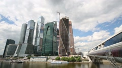 Moscow City Business Center and Bagration bridge Stock Footage