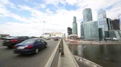 Dorogomilovskiy bridge and skyscrapers of business complex Stock Footage