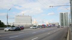 Cars on Novoarbatsky bridge across Moscow River. Stock Footage