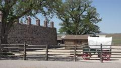 Cove Fort pioneer settlement garden wagon 4K 096 Stock Footage