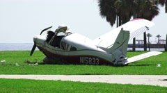 Crash Wreckage Of A Small Plane On Waterfront Grassy Park Tampa Bay 4K Stock Footage