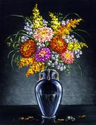 Bouquet of asters - stock illustration