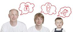 thought bubble, three persons - stock illustration
