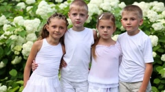 Two boys and two girls stand, laugh and clap among flowers Stock Footage