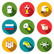soccer fans ultras icons set - stock illustration
