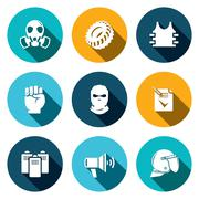 riots in the street vector icon collection - stock illustration