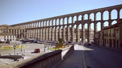 The famous ancient aqueduct in Segovia, Spain - stock footage