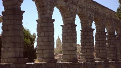 The famous ancient aqueduct in Segovia, Spain Stock Footage