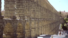 Stock Video Footage of The famous ancient aqueduct in Segovia, Spain