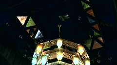 Muttrah (Matrah) Oman sultanate 021 ornate chandelier in Arabian souk Stock Footage