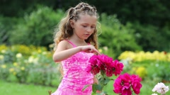Stock Video Footage of Happy little girl in pink counts flowers on bush in summer park