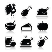 Thanksgiving Day food icons set - turkey, pumpkin pie, cranberry sauce icons - stock illustration