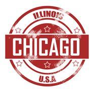 chicago stamp - stock illustration