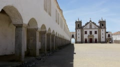 Portuguese church and colonnade Stock Footage